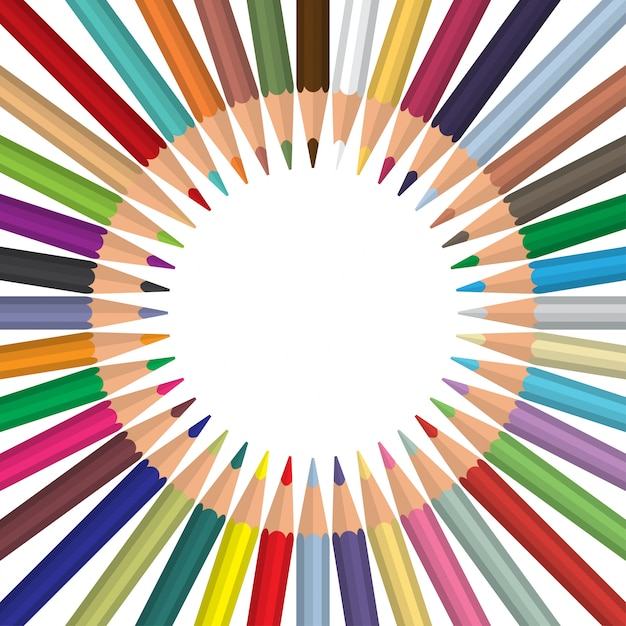 Multi farbige bleistifte rundeten kreis mit copyspace Premium Vektoren