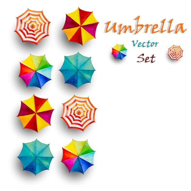 Multi farbiger regenschirm, draufsicht der vektoraquarellmalerei. Premium Vektoren