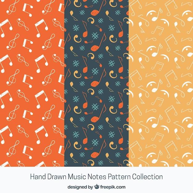 Multicolor musik noten muster hintergrund Kostenlosen Vektoren