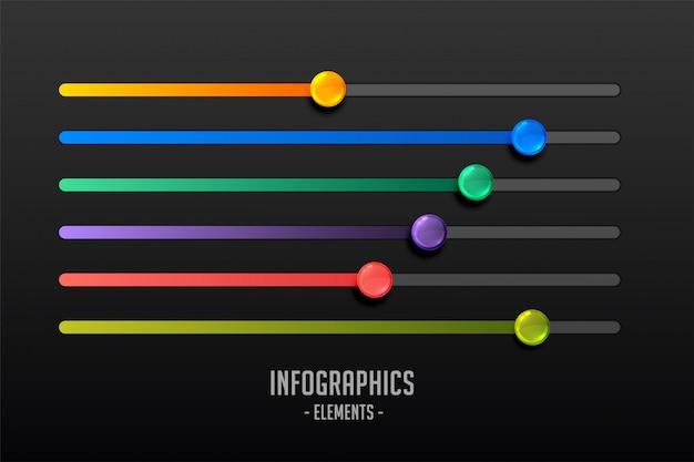 Multicolor schritte schieberegler konzept infograph Kostenlosen Vektoren