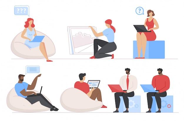 Multiethnische verschiedene leute arbeiten an laptop-satz Premium Vektoren