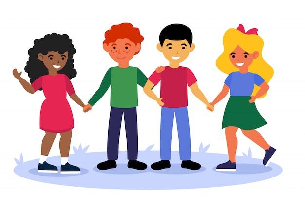 Multikulturelle kinder, die zusammen stehen und hände halten Kostenlosen Vektoren
