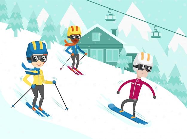 Multikulturelle menschen skifahren und snowboarden. Premium Vektoren