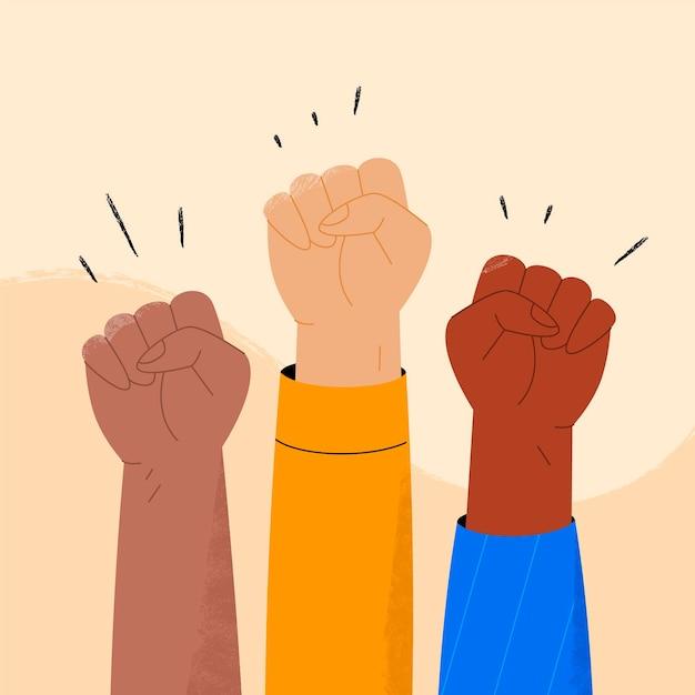 Multikulturelles erhöhtes fäuste-illustrationskonzept Kostenlosen Vektoren
