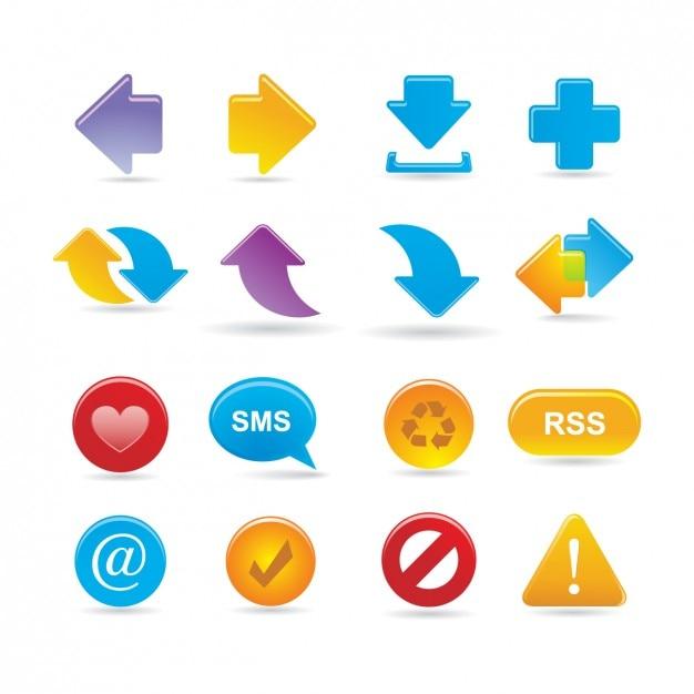 Multimedia icon set Kostenlosen Vektoren