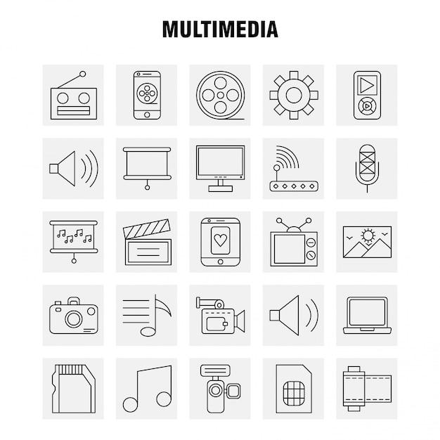 Multimedia line-icon-set Premium Vektoren