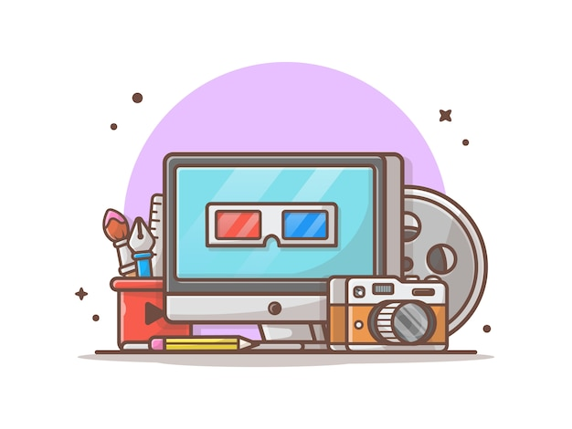 Multimedia-symbol abbildung. desktop, briefpapier, kamera, technologie-ikonen-konzept-weiß lokalisiert Premium Vektoren