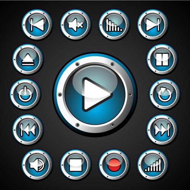 Multimedia-tasten sammlung Kostenlosen Vektoren