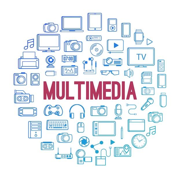 Multimediagerätikonenlinie artkonzept lokalisiert auf weiß Premium Vektoren