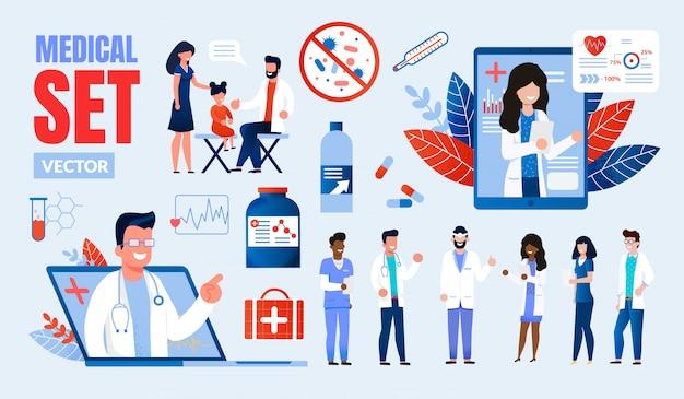 Multinationaler zeichensatz für mediziner Premium Vektoren