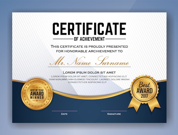 Multipurpose professional certificate vorlage design für print. vektor-illustration Premium Vektoren
