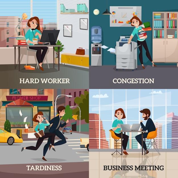 Multitasking 2x2 design-konzept Kostenlosen Vektoren