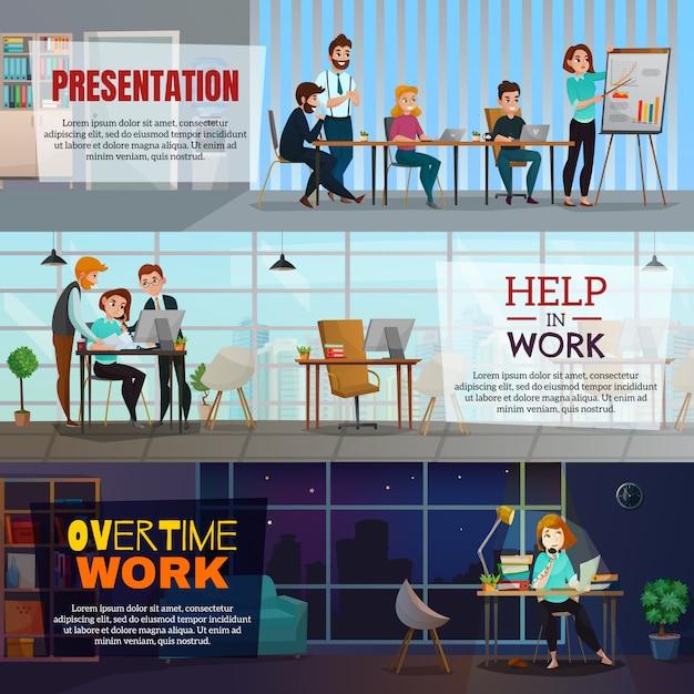 Multitasking-banner festgelegt Kostenlosen Vektoren