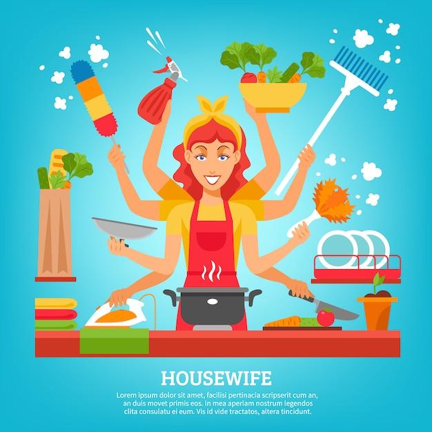 Multitasking-hausfrau mit acht händen Kostenlosen Vektoren