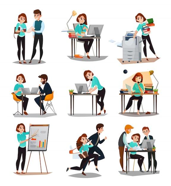 Multitasking icons gesetzt Kostenlosen Vektoren