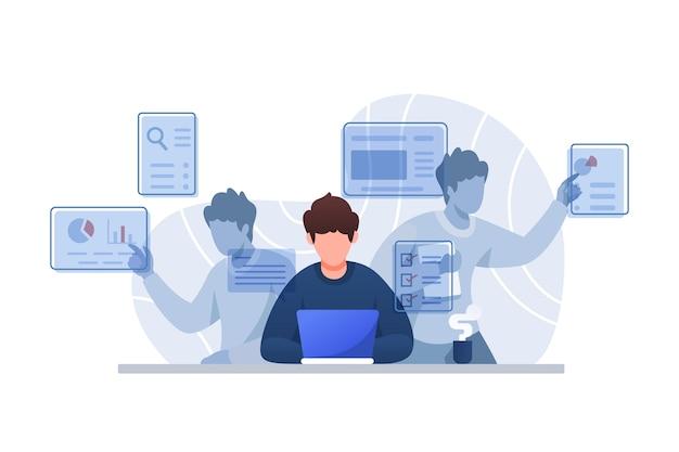Multitasking-konzept illustration charakter Premium Vektoren
