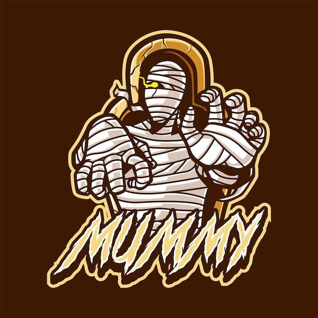 Mumienmaskottchen-logo für sport und sport Premium Vektoren