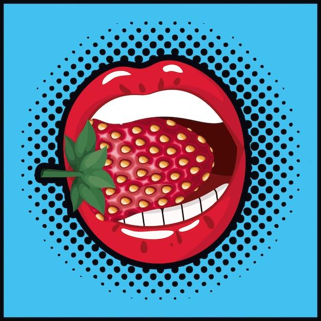 Mund, der süße pop-art-art der erdbeere isst Premium Vektoren