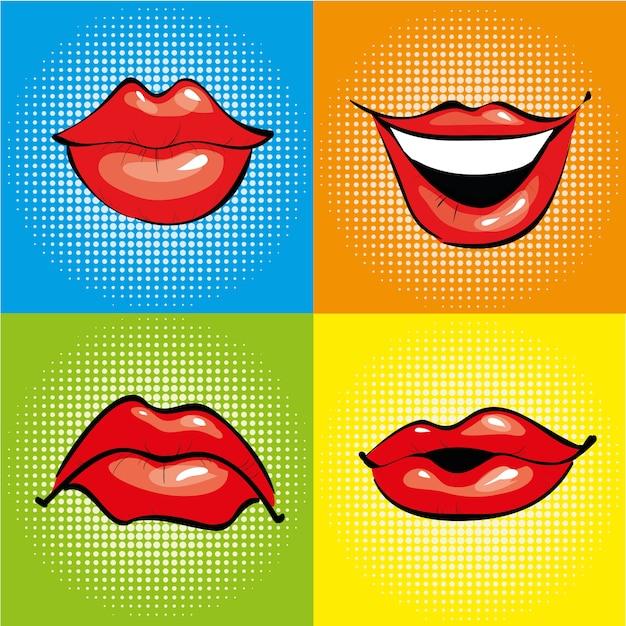 Mund mit roten lippen im retro-pop-art-stil Premium Vektoren