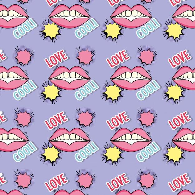 Mundflecken mit chatblase und liebesmitteilungshintergrund Premium Vektoren