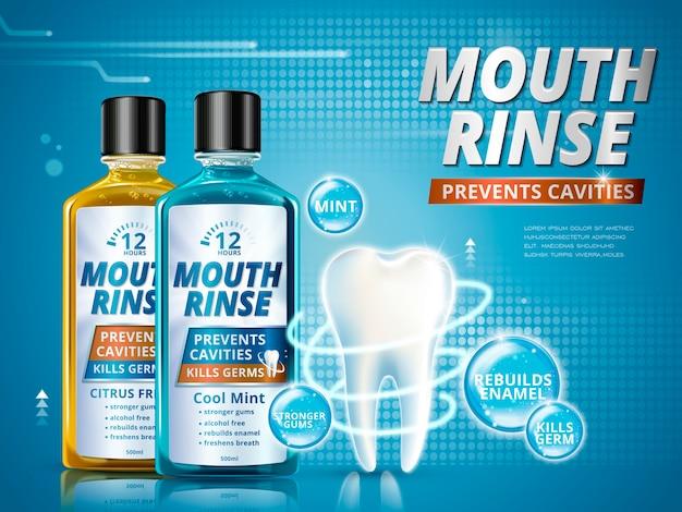 Mundspülanzeigen, erfrischende mundwasserprodukte in verschiedenem geschmack mit gesundem zahnmodell in der 3d-illustration Premium Vektoren