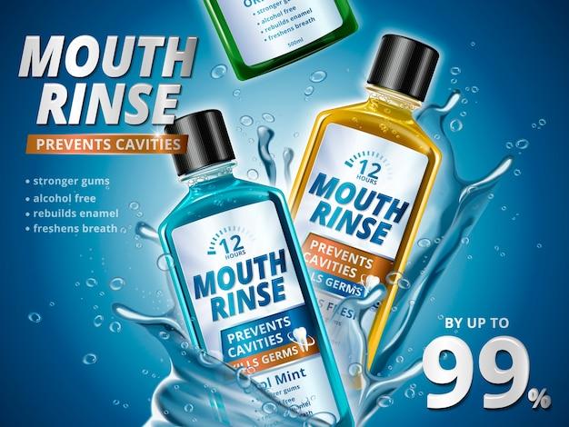 Mundspülanzeigen, erfrischende mundwasserprodukte in verschiedenen geschmacksrichtungen mit spritzenden aquaelementen in der 3d-illustration Premium Vektoren