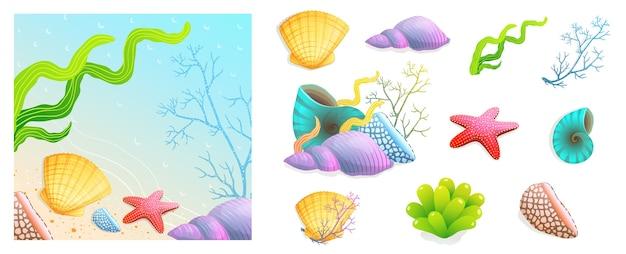 Muscheln, korallen und eine strandferien-hintergrundkompositionssammlung von bunten cartoons Premium Vektoren