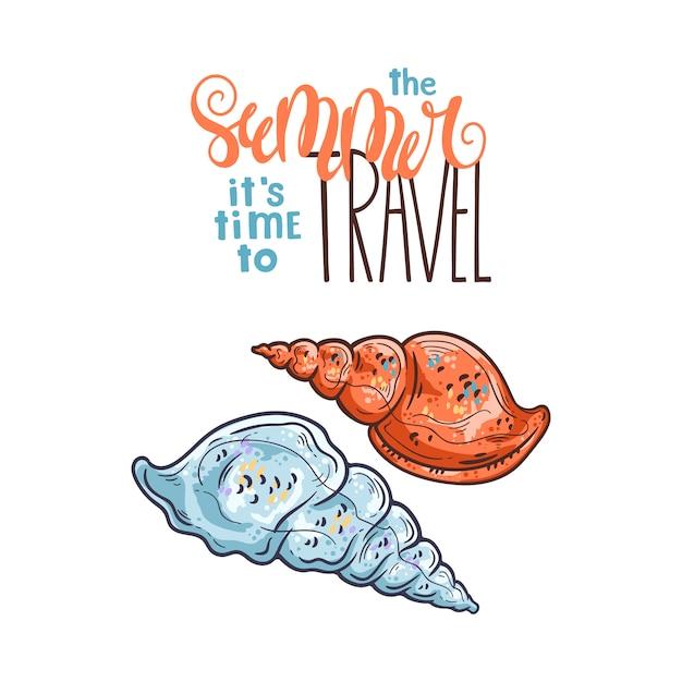 Muschelskizzen. schriftzug: im sommer ist es zeit zu reisen. Premium Vektoren