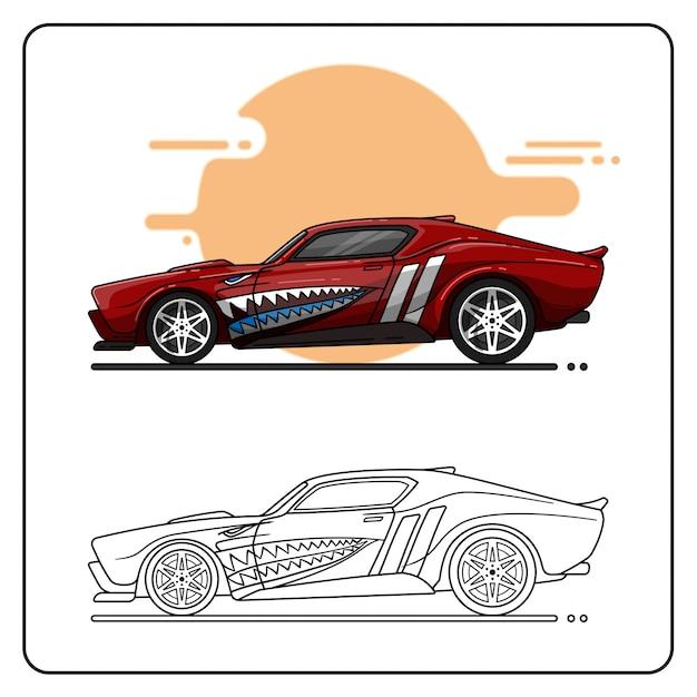 Muscle car einfach bearbeitbar Premium Vektoren