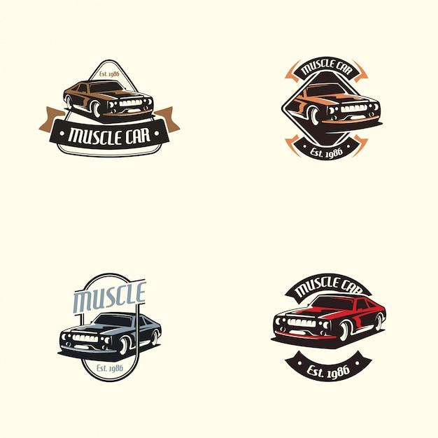 Muscle-car-logo im retro-stil. retro auto-logo-vektor Premium Vektoren