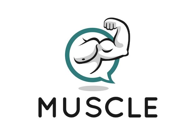 Muscle-logo-design für fitness-forum oder blog Premium Vektoren