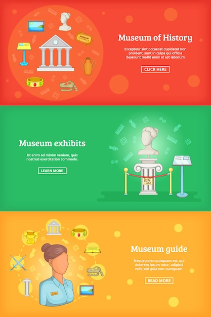 Museum banner set vorlage Premium Vektoren