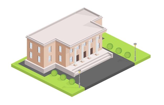 Museum, das isometrische illustration aufbaut Kostenlosen Vektoren