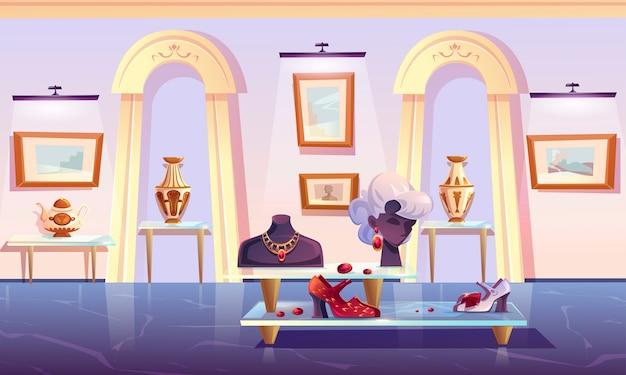 Museumsinstallation, ausstellung von luxusartikeln. Kostenlosen Vektoren