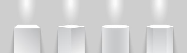 Museumspodest. steht. scheinwerfer mit sockeln oder ständern beleuchtet. illustration Premium Vektoren
