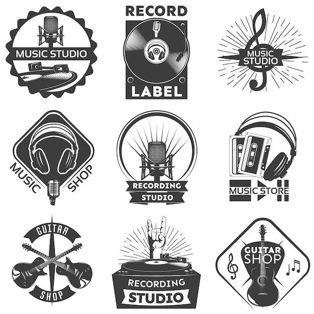 Music shop label set Kostenlosen Vektoren