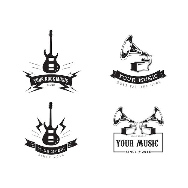 Musik abzeichen label vector Premium Vektoren