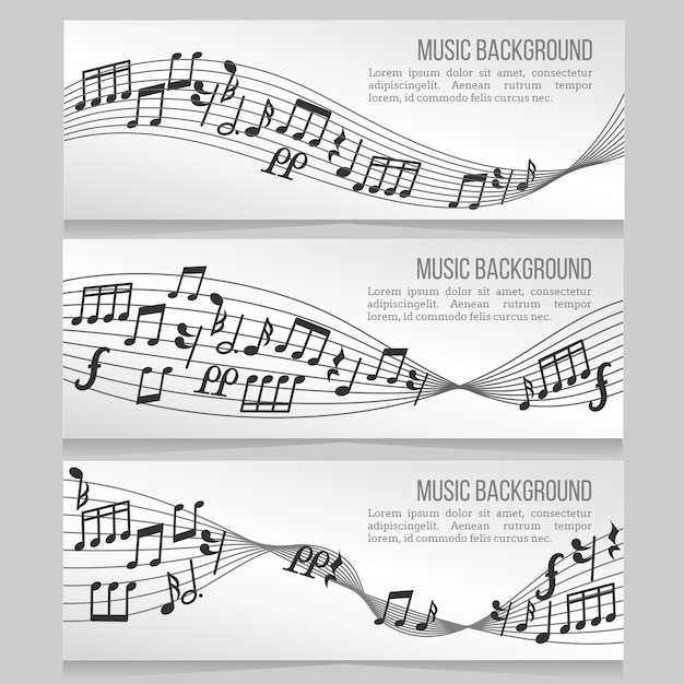 Musik-banner-vektor-set mit noten und schallwelle Premium Vektoren