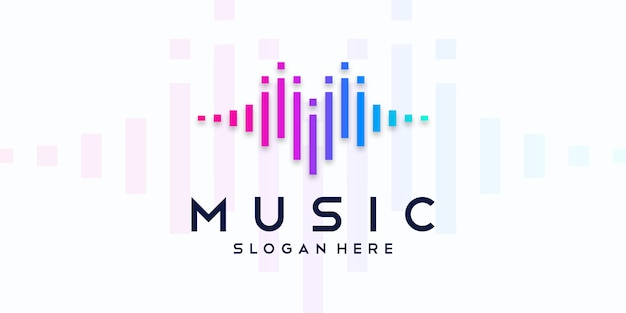 Musik-equalizer-logo. elektronisches audio-symbol. Premium Vektoren