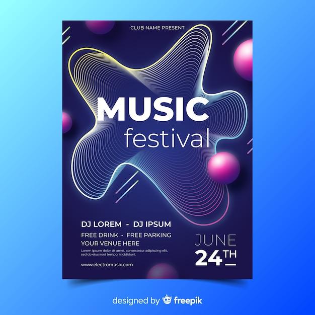 Musik festival abstrakte musik plakat vorlage Kostenlosen Vektoren