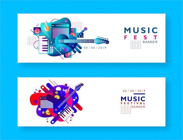 Musik festival banner hintergrund Premium Vektoren