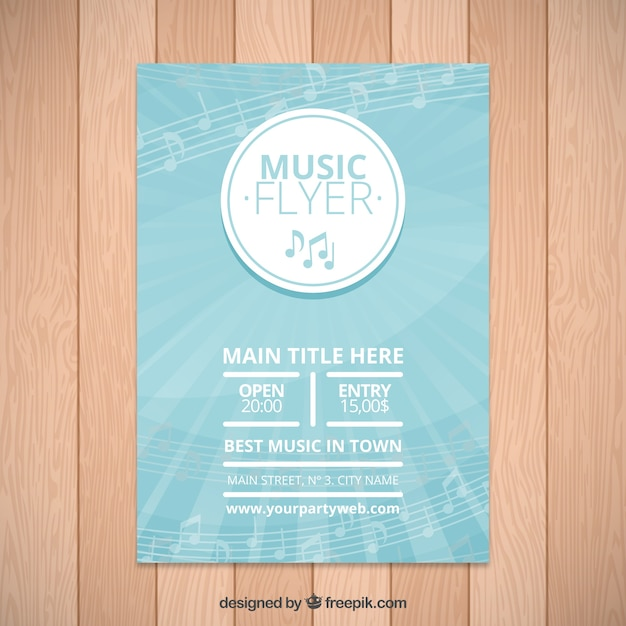 Musik Festival-Broschüre mit Noten | Download der kostenlosen Vektor