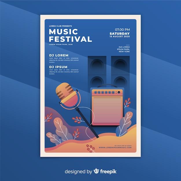 Musik festival plakat vorlage mit farbverlauf Kostenlosen Vektoren