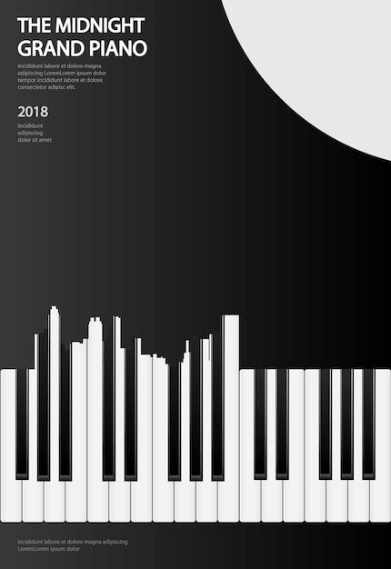 Musik-flügel-plakat-hintergrund-schablonenillustration Premium Vektoren
