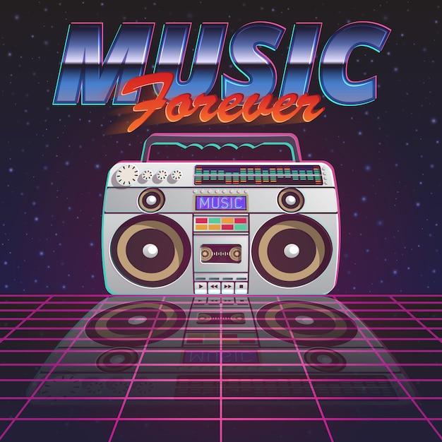 Musik für immer poster Kostenlosen Vektoren