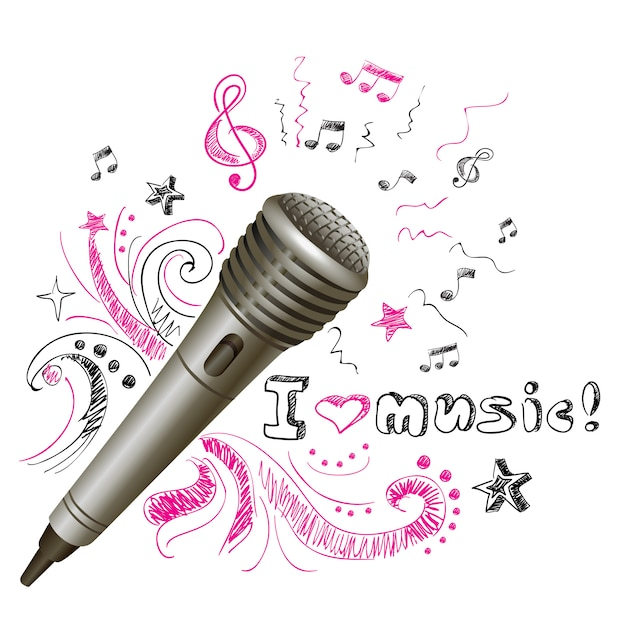 Musik gekritzel mikrofon Kostenlosen Vektoren
