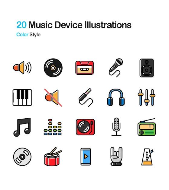 Musik-gerät-farbillustration Premium Vektoren