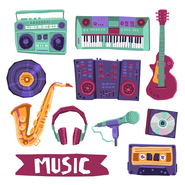 Musik-icon-set Kostenlosen Vektoren