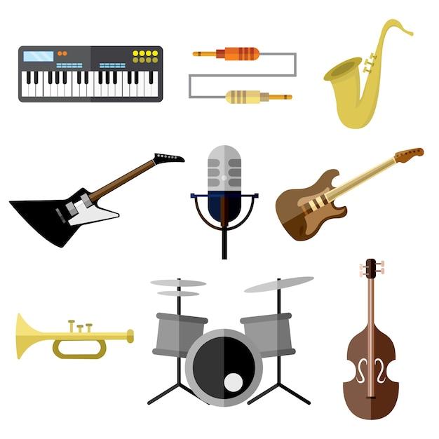 Musik-instrument-band-ausrüstungs-vektor-illustrations-grafik-set Premium Vektoren