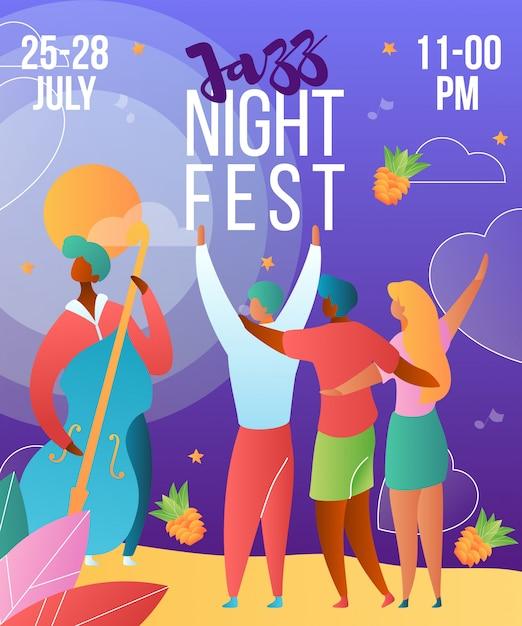 Musik-jazznachtfestival-plakatschablone mit zeichentrickfilm-figuren Premium Vektoren